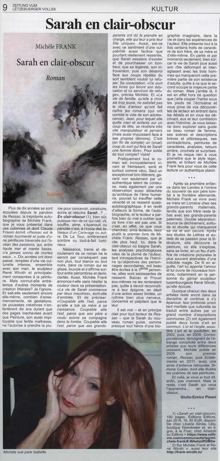 Critique du roman Sarah en clair-obscur par Giulio-Enrico Pisani